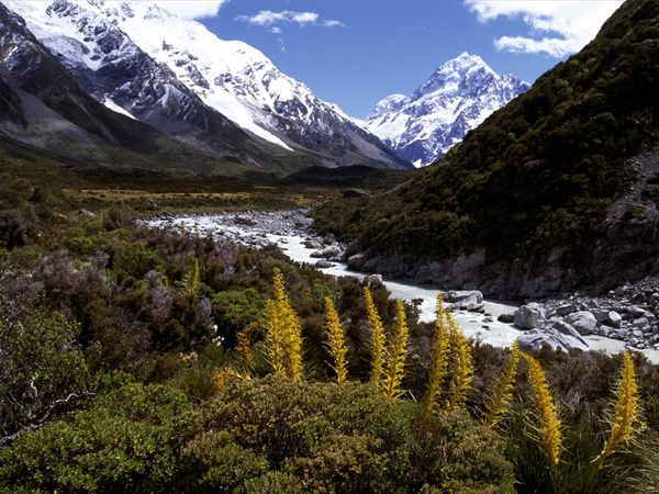 Mt. Cook, NZ as the winter snow melts from the terrain.