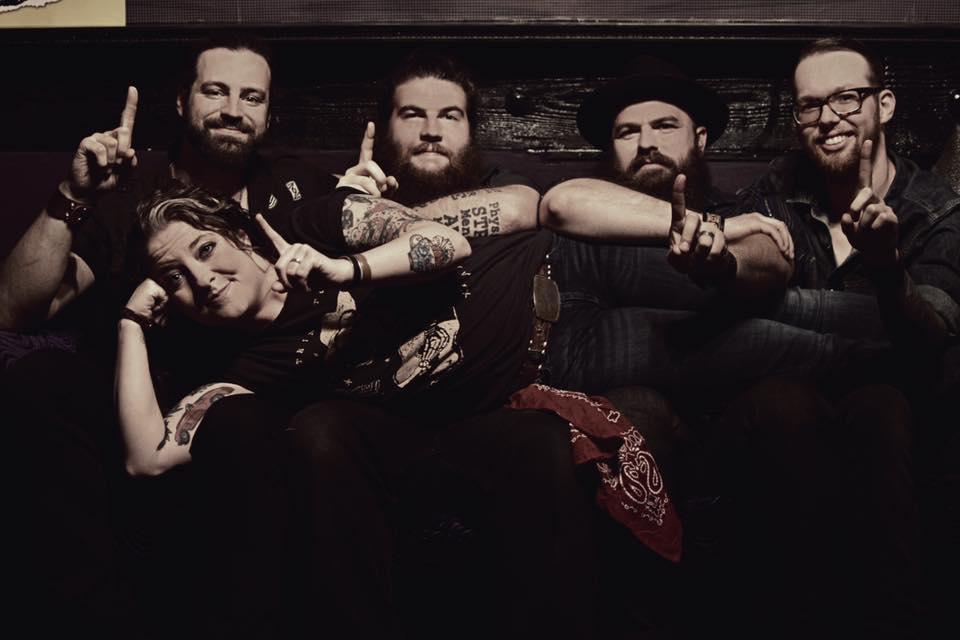 (L-R) Chris Harris (guitar, mandolin, backup vocals), Quinn Hill (drums), Andrew Sovine (guitar), Chris Sancho (Bass), (In Front) Ashley McBryde (lead vocals, guitar)