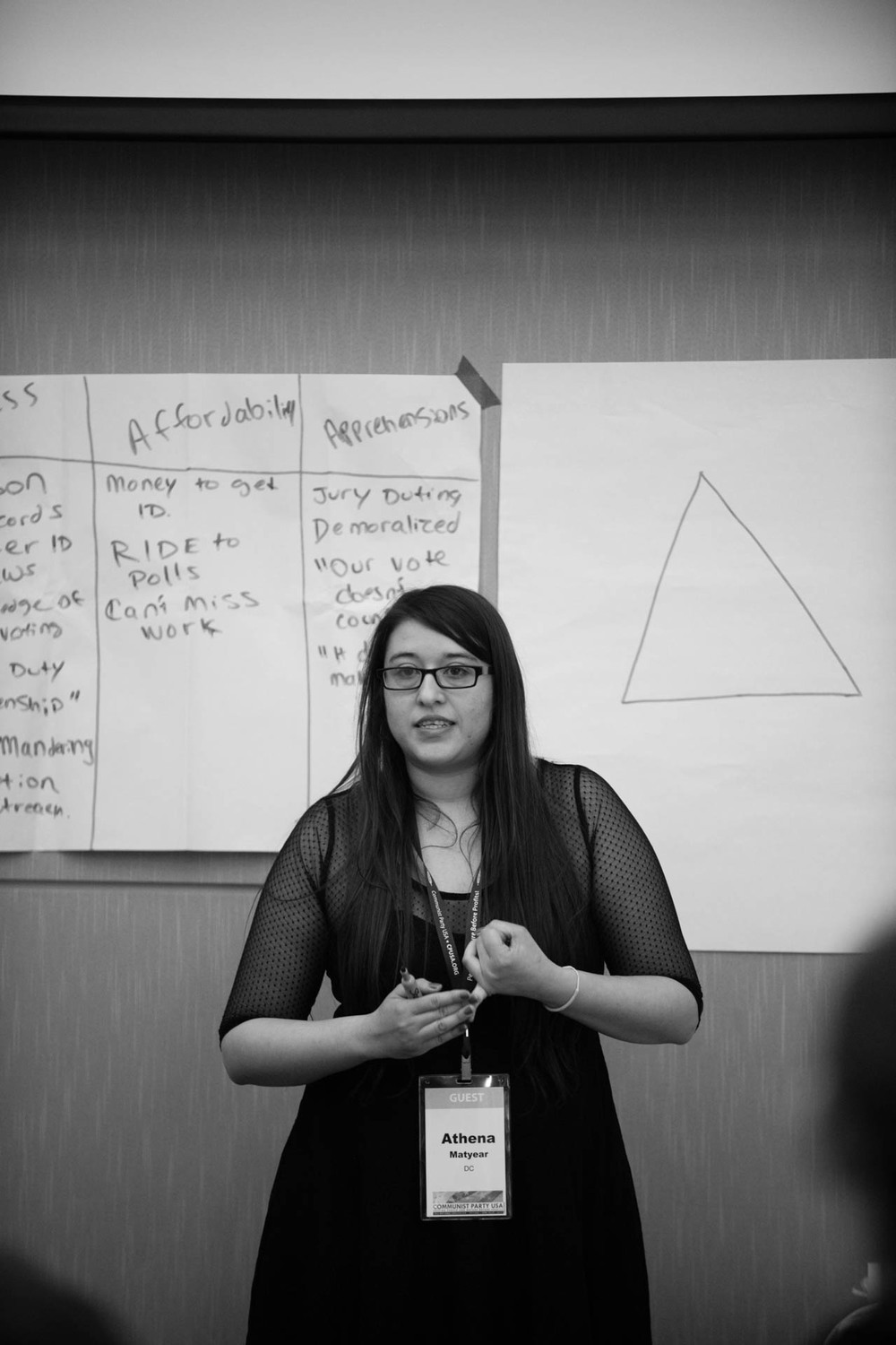 Athena Matyear was teaching a mini workshop on how the very low income voters in U.S. are systematicallt suppressed and how to help them