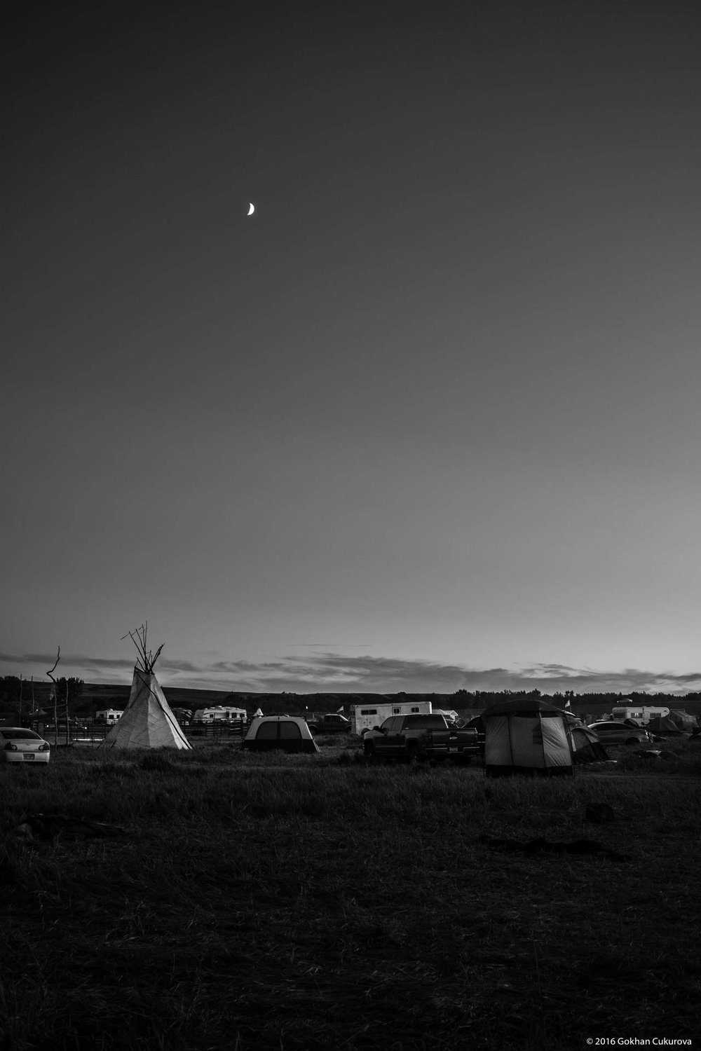 Moon rise over Red Warrior Camp