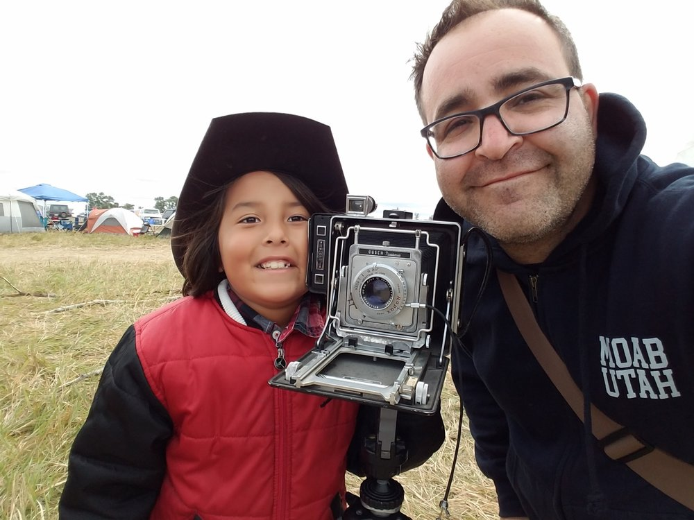 A selfie with Teagun after his family allowed me to photograph the whole family with a 4x5 film camera.