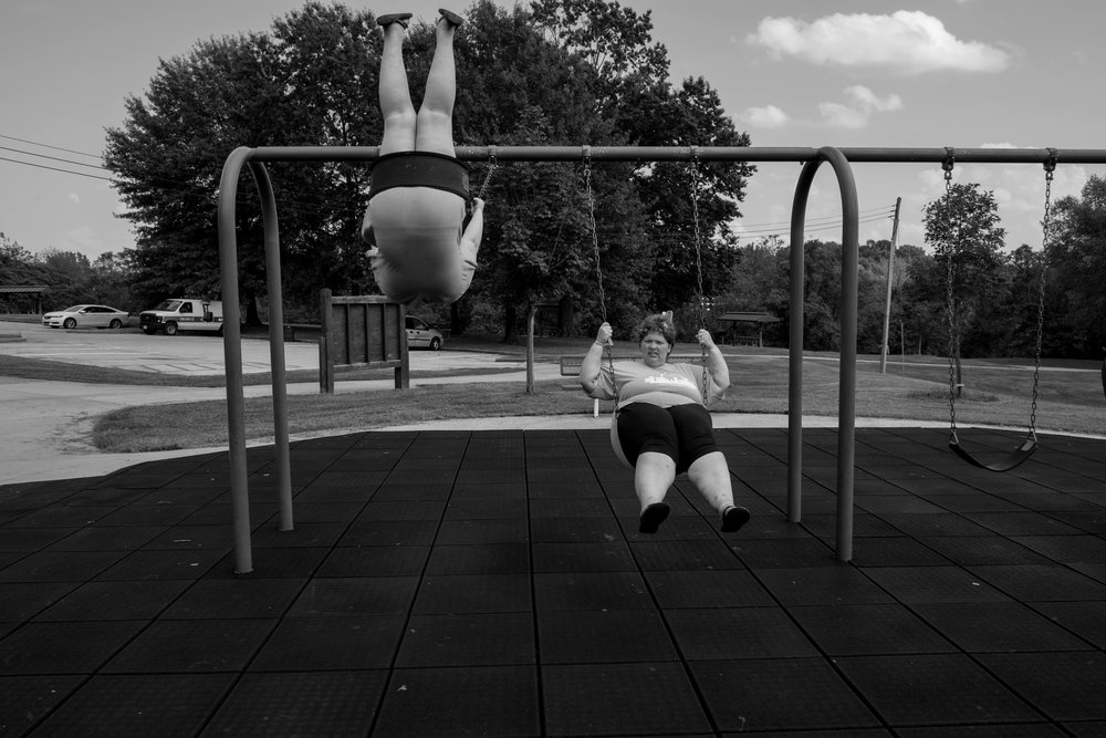 In spite of the stress and exhaustion of cancer therapy, Heather takes her kids to the park in the afternoon then joins her daughter on the swings and Sara flies from joy!