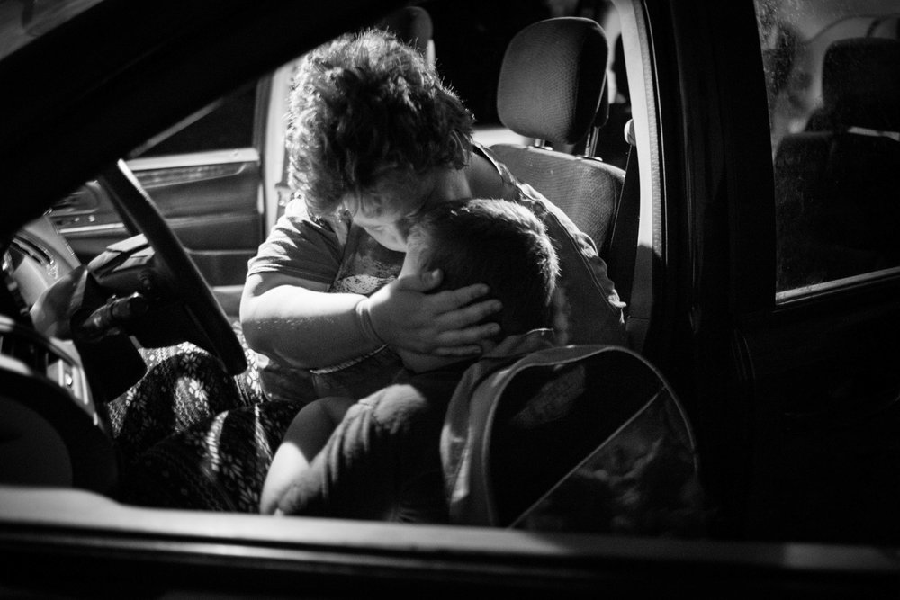 Heather did not have strength to walk the kids to the country road at the end of their farm's driveway. She drove them there and kiss them before they got on the school bus