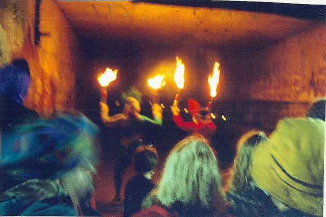 Fire Juggling in the fort tunnel, left Colleen Kinsella, right Kelly Nesbitt
