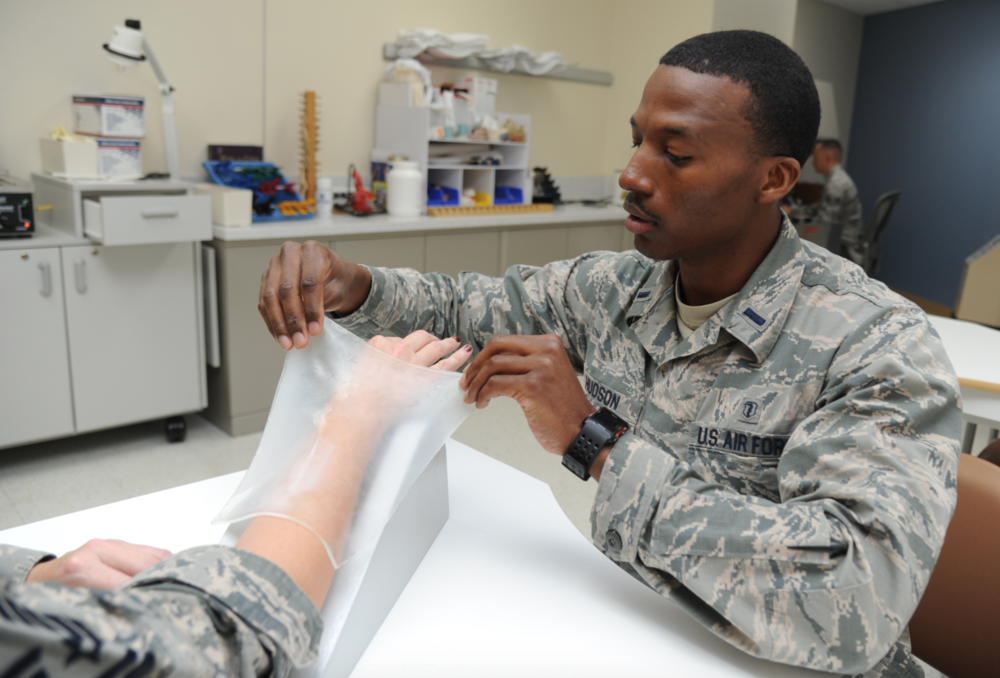 First Lt. Jabari Hudson, 81st Surgical Operations Squadron Occupational Therapist, makes a splint.