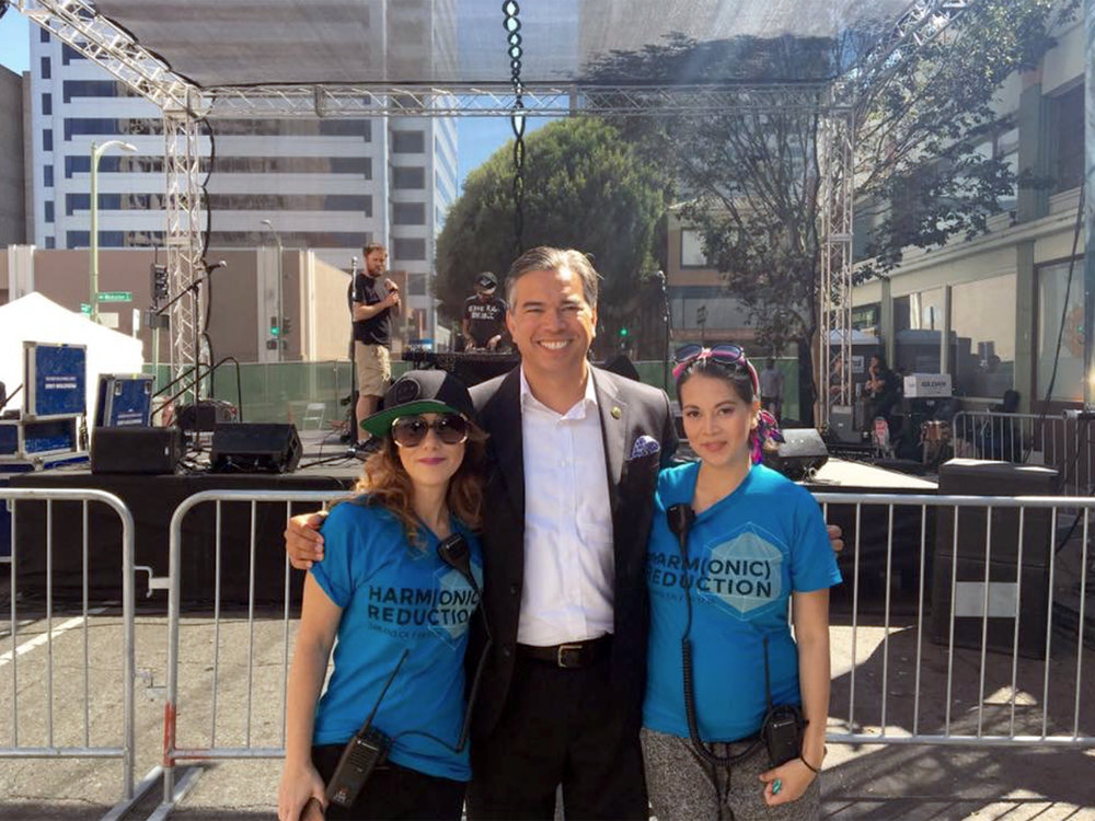 Stellium co-founders Michelle Ryan & Malaya Van Kleek with Assemblymember Rob Bonta