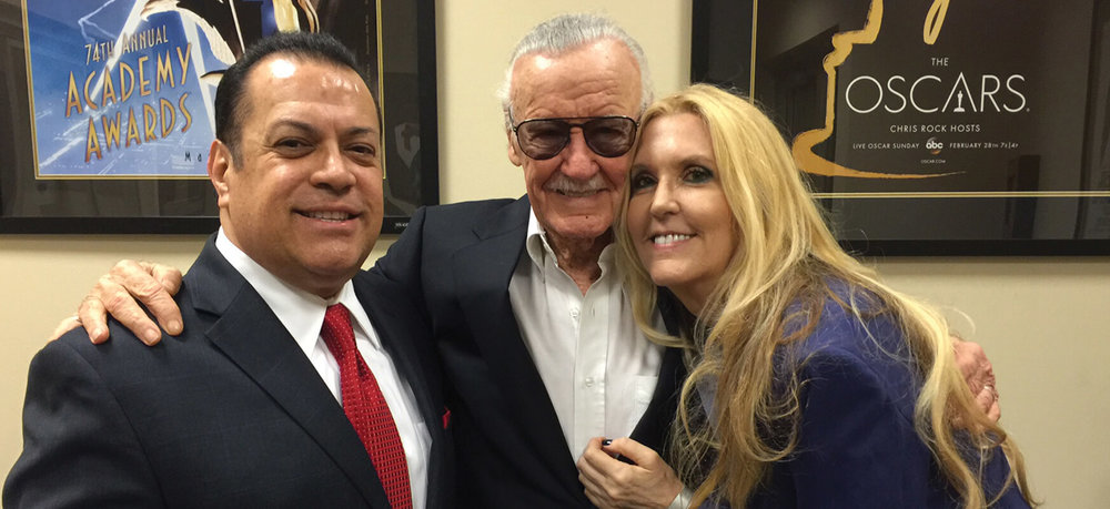 Stan Lee; Chairman Emeritus, Marvel Entertainment, creator Hands of Respect, right, JC Lee; songwriter/artist, and left, Jerry Olivarez; National Campaign Executive Director, Hands of Respect.
