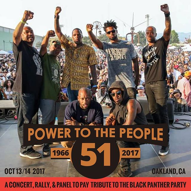 Feeling the strength of #powertothepeople at @hieroday Let's keep building Oct 13/14! Concert + Rally + Panel Discussion (link in bio) #blackpantherpower #unitedagainsthate #equality #freedomfighters #oakland