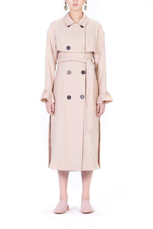 c9f78bd4488 Ruffle sleeves long trench coat. 40133-4.jpg