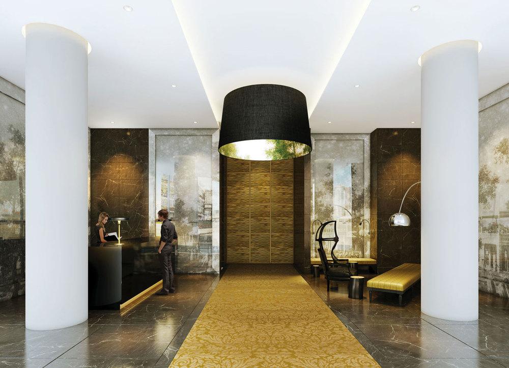 CGI of entrance lobby at Sky Gardens Nine Elms