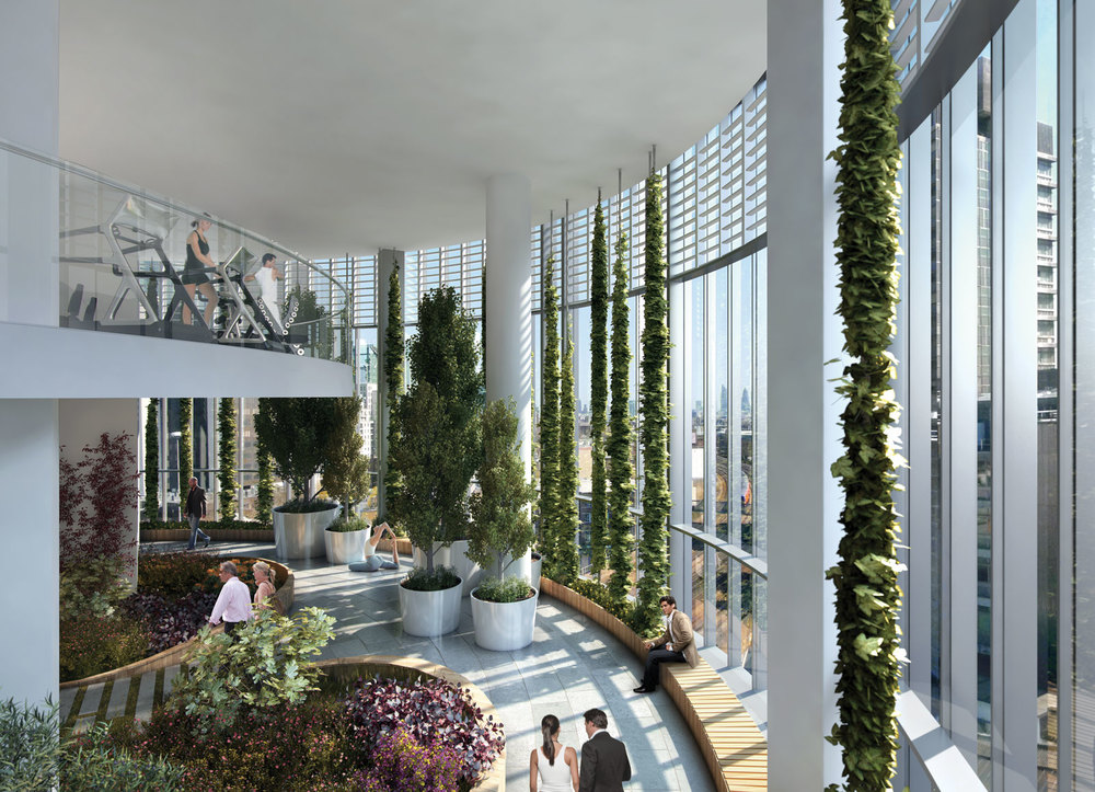 CGI of 8th floor Sky Garden with gym at mezzanine level
