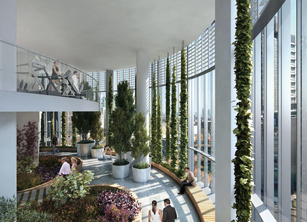 CGI of 8th floor Sky Garden with gym at mezzanine level
