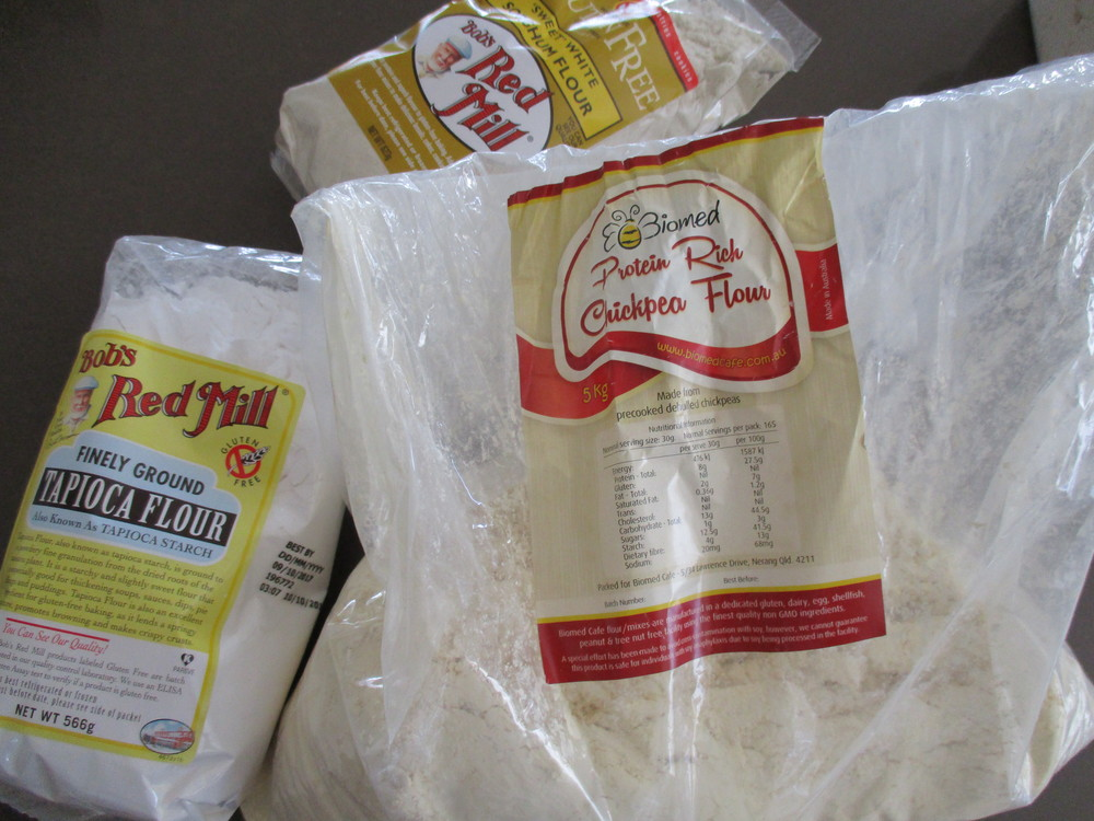 Three flours used to make Gluten Free Flour