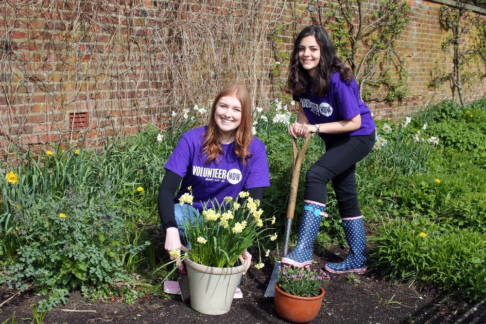 Sophie and Belén in the Volunteer Now photo shoot to promote the befriending programme.