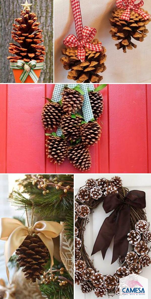Decoração natalina com pinhas
