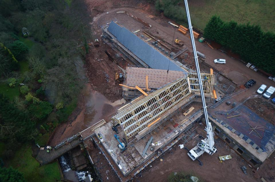 Aerial image of The Mill during redevelopment