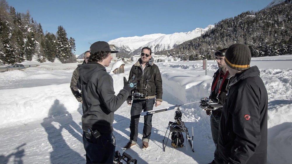 Dreharbeiten mit Heli in St. Moritz