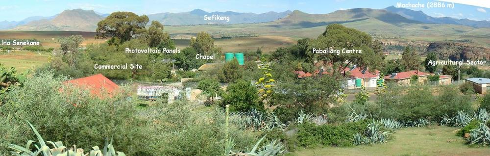 The Paballong Sites at Ha Senekane with a view of the Maluti Mountains