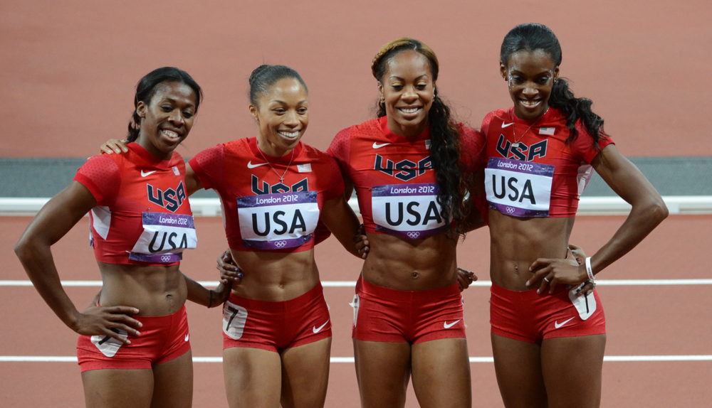 Sanya Richards-Ross at London 2012 (third from left).