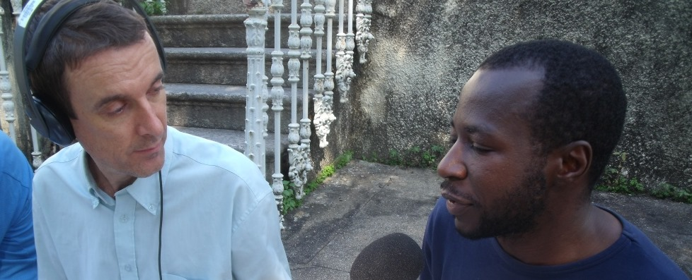 Planet Sport Football Africa presenter Steve Vickers (left) in conversation with football analyst Solomon Ashoms (right).