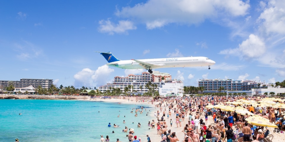 A plane comes into land at St Martin's world-famous airport.
