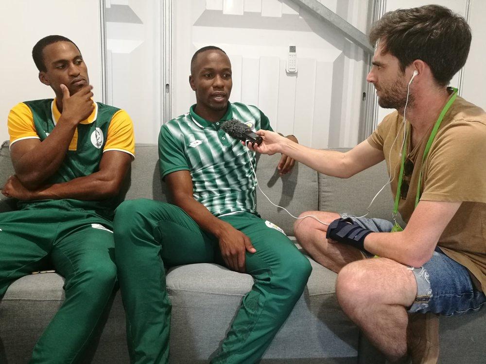 South Africa's Akani Simbine & Henricho Bruintjies