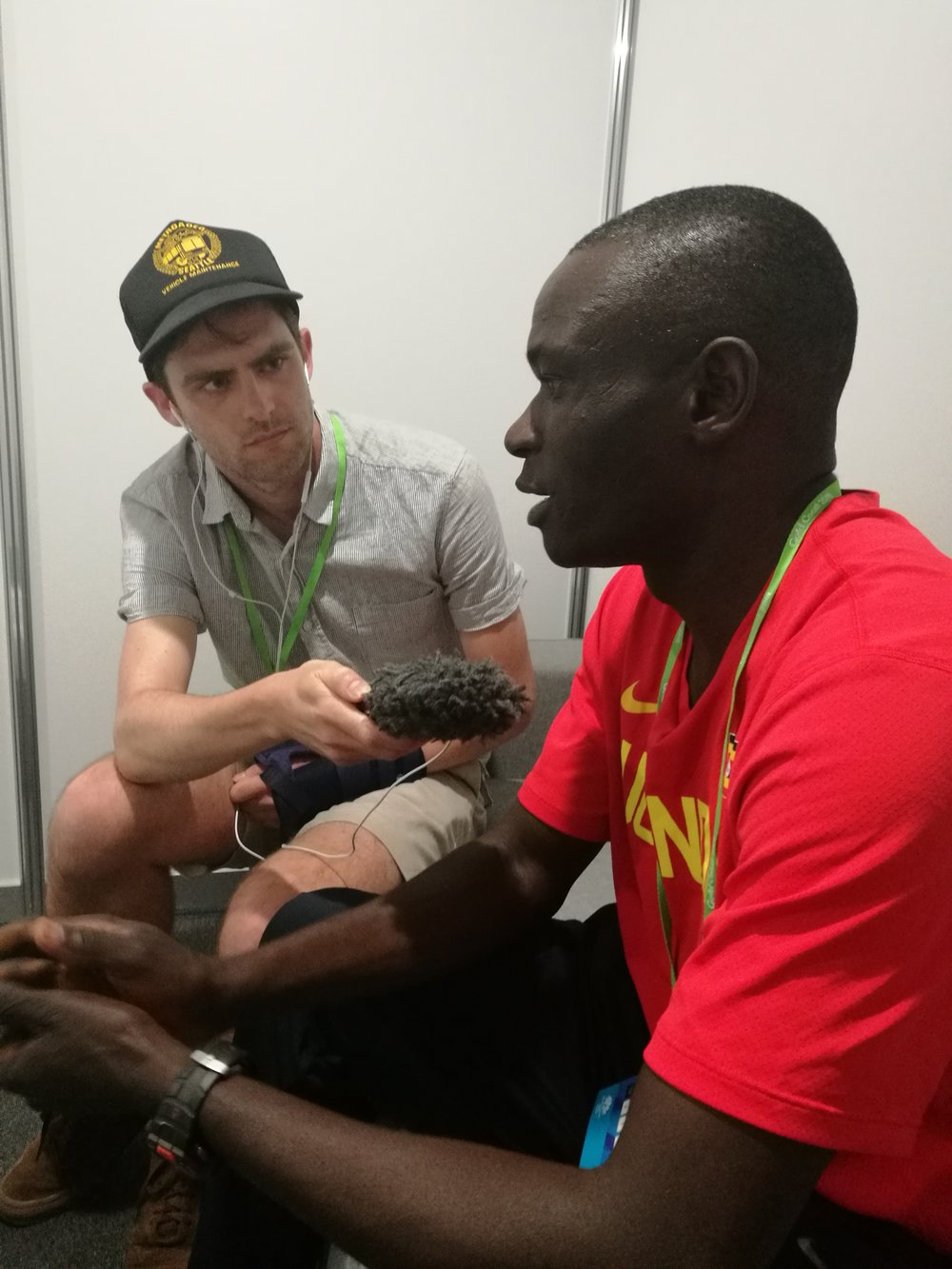 Julius Achon speaking to Planet Sport's Tom Ellis at the 2018 CW Games.
