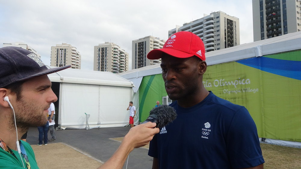 Field Reporter Tom Ellis (L) speaking to Joshua Buatsi (R) in Rio, Brazil 2016