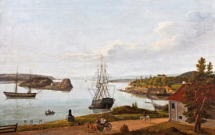 """""""Vækkerød ved Christiania"""" av Ferdinand Gjøs. Seilskutene er klare til å laste trelast for eksport."""