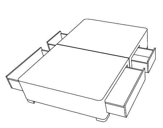 4 zasuvky - 2 male a 2 velke - bedna - anglicke postele