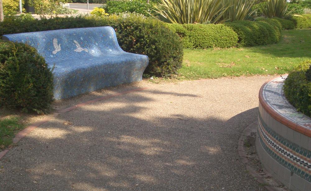 Crawley Memorial Gardens Mosaic Bench and Planter