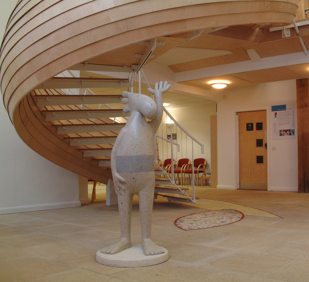 Entrance Area with sculpture by Lucy Casson, Staircase by Walter Jack and floor mosaics by me.