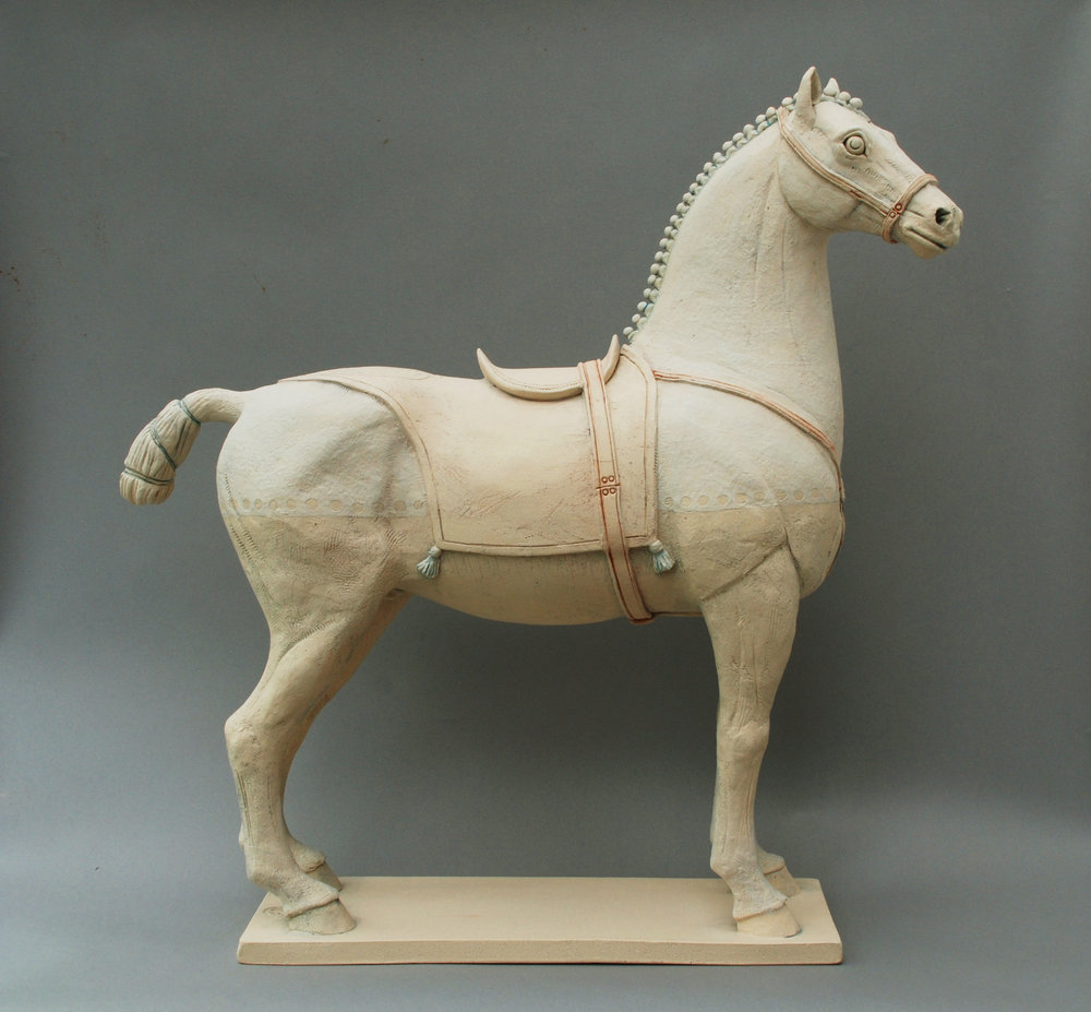 Ancient White Persian Horse, High-fired hand-built Earthenware with painted slips, height 55cm