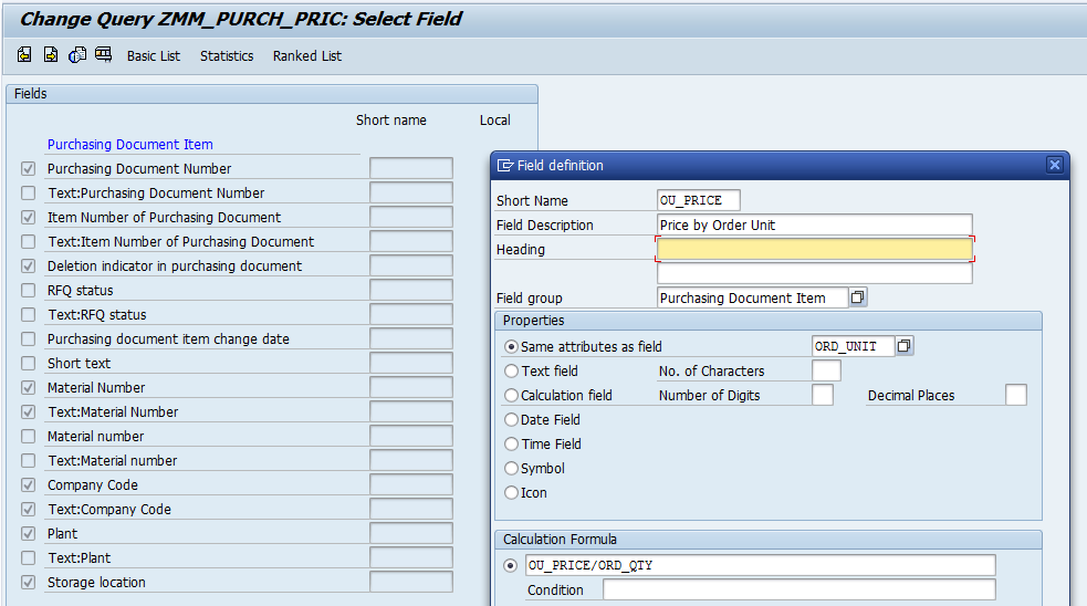 Local Fields in SAP Queries