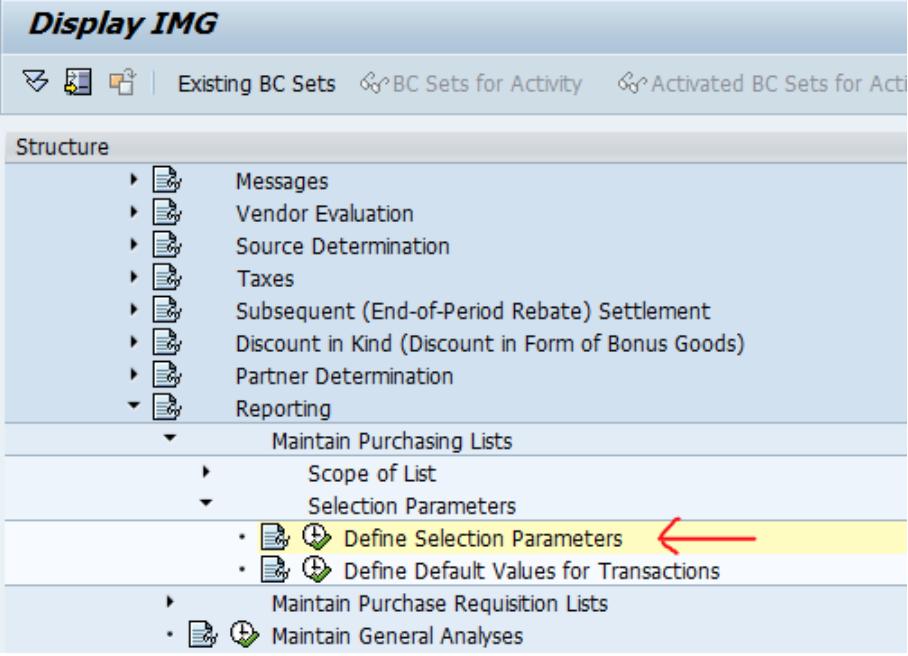 SAP Parameters