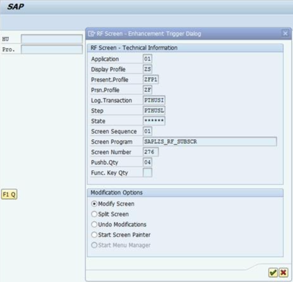 SAP RF Screen Tips