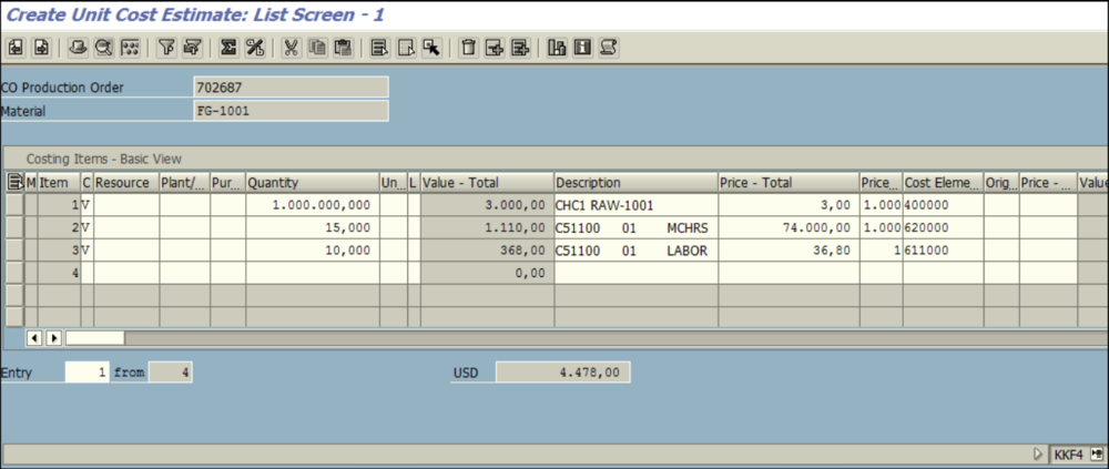 Figure 2.3 KKF4 – Order Planning screen, Unit cost estimate details are entered for the given order 702687 (CK13N data was replicated).
