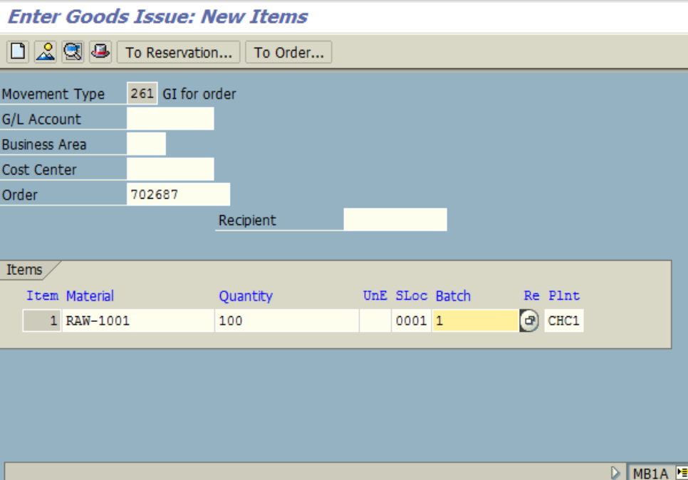 Figure 3.2 MB1A – Goods Issue detail screen, Material number, quantity and batch are entered