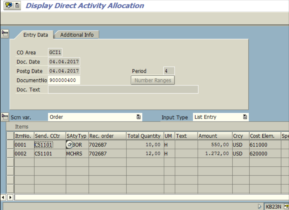 Figure 4.2 KB23N – Activity Allocation document for Order is displayed.