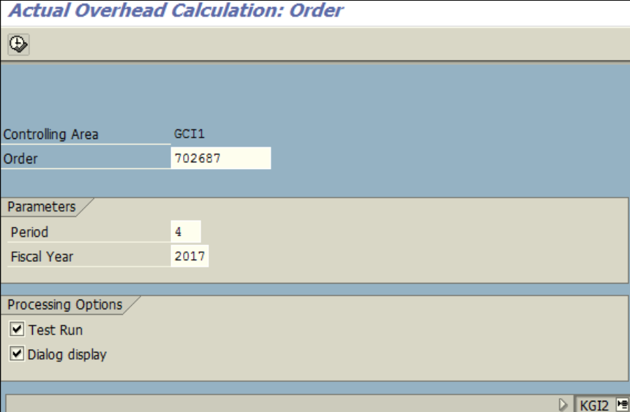 Figure 5.1 KGI2 – Overhead calculation: Order number, year and period are entered