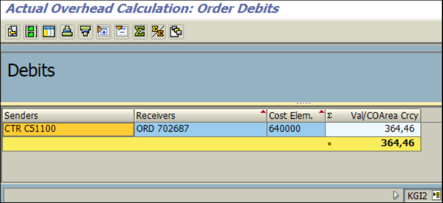 Figure 5.3 KGI2 – Overhead calculation: overhead is applied on the order, cost center is credited