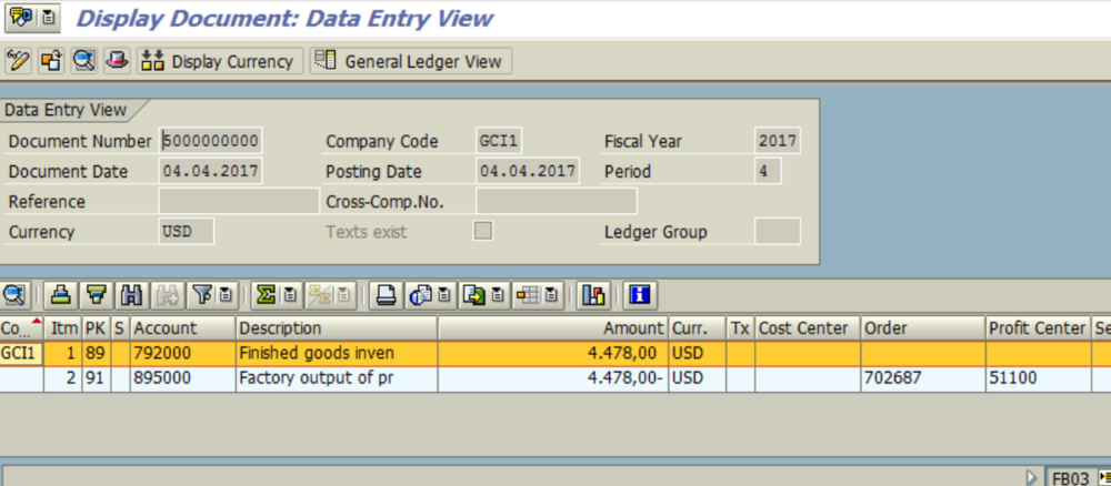 Figure 6.5 FB03 – Financial Accounting Document for Goods Receipt is displayed.