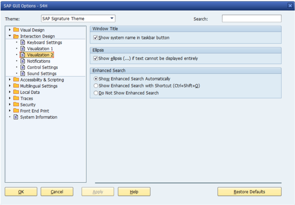 Figure 6 Enhanced Search Functionality Settings