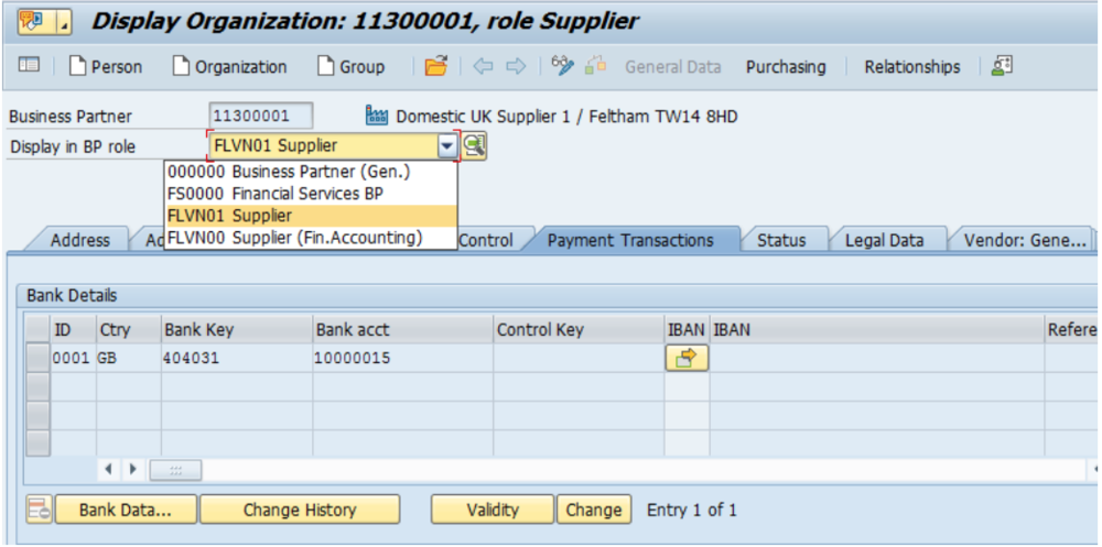 Figure 10 Business Partner Payment Tab
