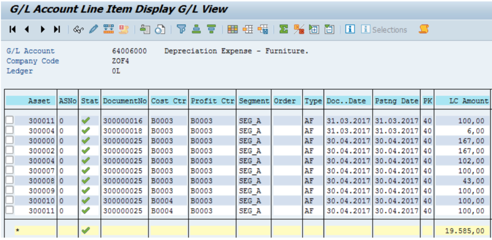 Figure 16 Depreciation Account in GL Account Line Item Display