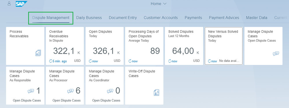 Figure 12:  Fiori application - Processing Days of Open Disputes