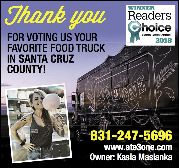Thank you Santa Cruz Sentinel Readers for Voting us Favorite Food Truck in Santa Cruz County for 2018!!!