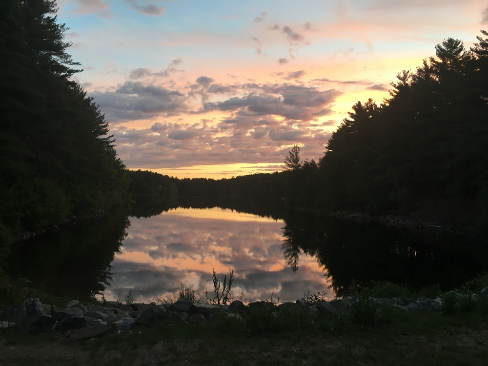 Sunrise over the reservoir in the Middlesex Fells