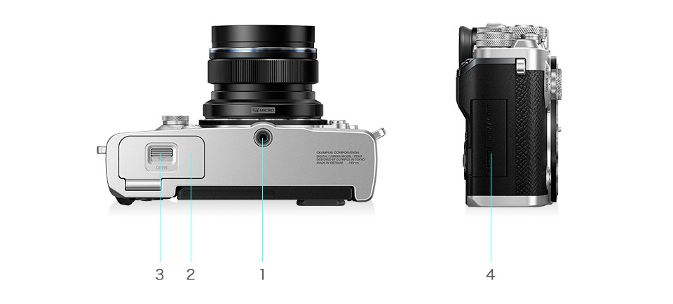 Olympus PEN-F bottom and right side view
