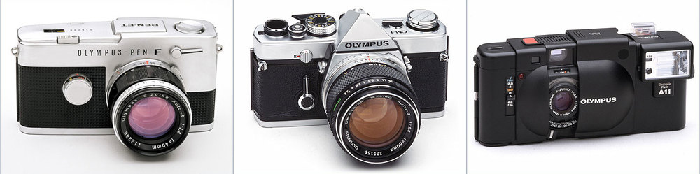 Olympus PEN-FT, OM-1, XA - ©Olympus Corporation. Used with permission.